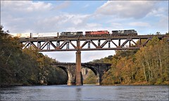 Touch of Red (Images by A.J.) Tags: train railroad railway rail bridge steel ns norfolk southern cp canadian canadien pacific conemaugh river dam pa pennsylvania