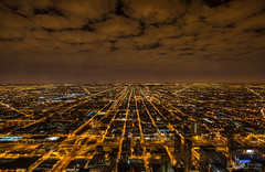Chicago at night (Artem Zhukov) Tags: chicago night city skyline aerial overhead downtown illinois view travel architecture urban landmark tower lake cityscape dusk michigan usa evening sky building office tourism america famous destination twilight skyscrapers beautiful west park street river lights above nyc millennium business light water