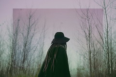 (emmakatka) Tags: woman portrait sky surreal woods forest witch witchy dreads dreadlocks pink autumn cold winter emmakatka northdakota black figure adventure lost explore art