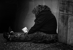 Outside of the System (Klaus Ficker --Landscape and Nature Photographer--) Tags: beggar poor homeless kentuckyphotography klausficker usa canon eos5dmarkii old milf women bw
