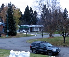 A warmer day (diffuse) Tags: snow snowfort melting thaw rained street green grass leaves fallen