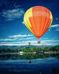 Up, Up & Away! (scottwills) Tags: square uploaded:by=instagram hot air balloon color colorful flight fly scott wills scottwills reflection sky clouds