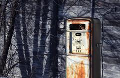 """Two dollars, please"" (Harry2010) Tags: shadow canada abandoned wall vintage rust ruins rustic gasstation boardedup saskatchewan prairies decayed gaspump pasqua"