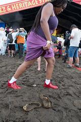 Fest Footwear (Scott Saltzman / Barefoot Photography) Tags: music feet mud neworleans newshoes day4 contrasts jazzandheritagefestival muddyshoes muddyfeet jazzandheritagestage