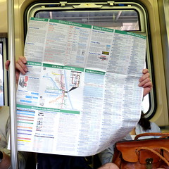 Tourist season (yooperann) Tags: light summer people chicago green train map authority rail line passengers transit commuters chicagoist
