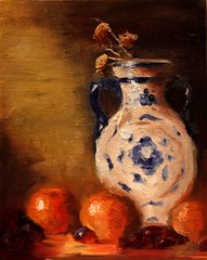Russian Water Jug (Candice_paint) Tags: life blue light orange plant water still jug grape