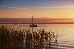 Tranquil (joseph_donnelly) Tags: lake see tranquil bayern bavaria germany chiemsee boat quiet morning morgen frh early sunrise sonnenaufgang colours sailing grass