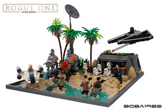 Rebel Attack on Scarif (Boba-1980) Tags: atact attack beach boba1980 bunker ids idsmo lego moc one r3 rebel rouge rougeone scarif shore starwars tie tiestriker trailer uwing