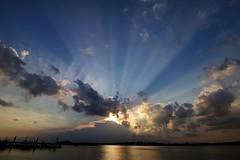 Sunset off Lim Chu Kang Jetty (jensen_chua) Tags: sunset landscape singapore clouds nature seaside sunray ray light