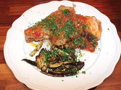 Poulet  la nioise with deep-fried courgettes and rice (La belle dame sans souci) Tags: chicken frenchfood frenchcuisine frenchcooking olives rice tomatosauce