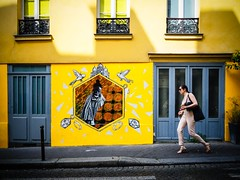 Stepping in. (kitchou1 Thanx 4 UR Visits Coms+Faves.) Tags: art cityscape et europe exterior france landscape mural paris people season street streetart summer world saison