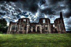Stately ruin (Anthony Plancherel) Tags: architecture bedfordshire england external houghtonhouse places travel travelphotography architecturephotography ruins ruin decay derelict remains shell haunted ghostly house statelyhome lodge huntinglodge english british greatbritain britain uk unitedkingdom sigma1020mm canon canon70d hdr grass lawn daisies brick sky cloudy clouds greyclouds mood faade window doorway entrance outdoor building