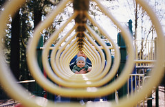 corridor (manyfires) Tags: nikonf100 35mm analog film boy baby son father family love playground fun portrait henry