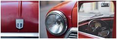 mini (miemo) Tags: autumn bokeh car closeup dashboard em5mkii europe fall finland gauge headlight helsinki hood light logo metal mini old olympus omd red sign steeringwheel triptych voigtlnder voigtlndernokton425mmf095 window