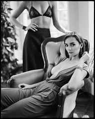 (Radoslaw Pujan) Tags: pentax 67 film analog women duo couple ilford hp5 mansion palace royal elegance classic classy dress bra