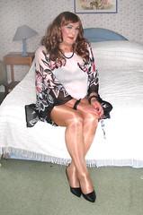 Colskimpytop-001 (fionaxxcd) Tags: crossdresser m2f mtf transvestite trannie tranny wolford tights pantyhose bra upskirt stilettoes longhair rednails lipstick