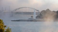 fountain river fog (jimbobphoto) Tags: ohioriver alleghenyriver monongahela monriver pittsburgh pennsylvania pointstatepark fog fortduquesnebridge fountain river weather morning