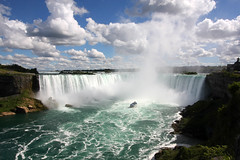 Niagara Falls, Ontario (scienceduck) Tags: scienceduck 2016 summer niagarafalls waterfalls ontario canada horseshoefalls maidofthemist boat clouds blue water river lakeontario lake wideangle mist