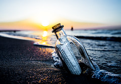 You got Mail!!! (wolfi8723) Tags: bottle meer water sunset warnemnde post