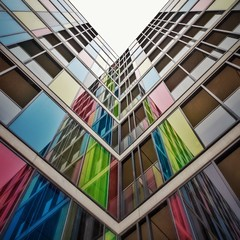 Somewhere Over the Rainbow (Paul Brouns) Tags: screens windows building residential levels floors  rainbow colours colors paulbrounscom paulbrouns   symmetrical symmetry vvv    kwadrat square up looking lookup nijmegen gelderland holland nederland netherlands geometry geometrie   architecture architektur architectuur