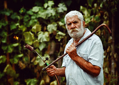 Fermer with blow torch (do not underestimate a man with a walking stick) (Sayman K) Tags: sony a6000 samyang 85mm portrait old man fermer with blow torch underestimate walking stick blowtorch bulgaria conceptual art ilce6000