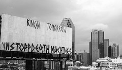 """Know Tomorrow""; Queens, New York (hogophotoNY) Tags: sign signs queens queensny ny newyork usa us hogophoto bw blackwhite blackandwhite billboard billboards driving roadsidesign road buildings"