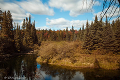 The Beginning of Change (awaketoadream) Tags: autumn ontario park trees canada sky water river travel blue clouds trail fall september long whiskey exposure hiking rapids central algonquin provincial