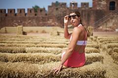 (caro line 030) Tags: outdoor straw castle rock woman girl wickedweasel ww pink summer portugal silves sun