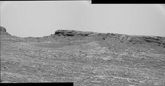 Grayscale Landscape (sjrankin) Tags: 12october2016 edited nasa mars msl curiosity panorama butte sky haze grayscale bayerencoded galecrater