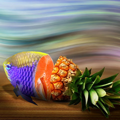 Fish or fruit (jaci XIII) Tags: peixe fruta abacaxi photobicho photomontagem fish fruit pineapple photo animal montage