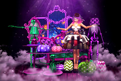 Welcome to colorful hell (meriluu17) Tags: boudoir colorful pink green purple halloween dress head indoor scarry fantasy