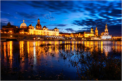 Altstadt Dresden (camiha87) Tags: dresden sachsen spiegelung reflection wolken clouds blaue stunde olympus em10 12mm deutschland germany altstadt old town wasser water gras kirche church licht light beleuchtung elbe fluss river sunset sonnenuntergang
