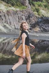 Hannah by Lucie Smeriglio (luciesmeriglio) Tags: beach fashion model photography portrait color plage ocean sea mer girl beautiful face natural light sun high lights water blue mermaid blonde sand nz kiwi newzealand
