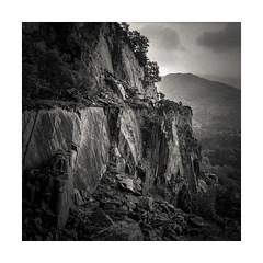 Vivian Quarry (osh rees) Tags: slate landscape mountain ssnowdonia llanberis wyddfa blackandwhite film medium format rangefinder fuji gf670 square 6x6 scan epson v500