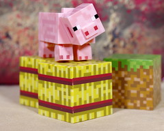 A pig in the hay bales (Busted.Knuckles) Tags: home toys minecraft minifigures pig pentaxk3 camerautility5
