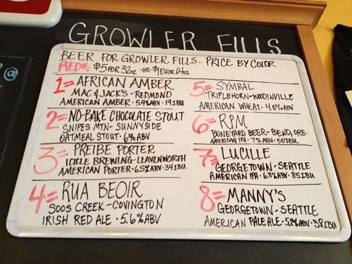 Beer for growler fills, Saturday 5/18/13 7PM (fills stop at 7:45 tonight)