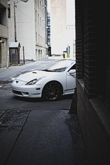 (beatty.alex) Tags: street city ohio white car bronze ally automobile wheels toyota vehicle volks lowered dayton jdm celica gts stance