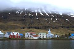 Houses across the bay (VinayakH) Tags: snow port iceland fjord seaport seyisfjrur