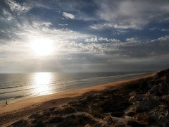 intergalactic beach mix (dubdream) Tags: ocean sea sky people españa cloud sun seascape beach nature water landscape andalucía dunes huelva panasonic atlántico colorimage mazagón wetreflection dubdream dmcgx7