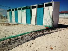 Themed - the other side (ale2000) Tags: vsco summer seaside spiaggia beach cabins wood wooden alternating row white bianco blue blu azzurro estate almare bathinghuts huts se3 net rete