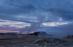 Fumaroles at Night (Nancy King Photography) Tags: clouds fumaroles geothermal hverir iceland myvatn steam
