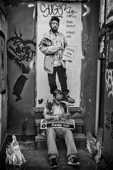 keep out street art (Daz Smith) Tags: dazsmith canon6d bw blackwhite blackandwhite bath city streetphotography people candid canon portrait citylife thecity urban streets uk monochrome blancoynegro art graffiti poster man sitting upfest bristol 2016