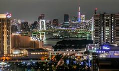 Tokyo Tower and Rainbow Bridge Tokyo Telecom center view room (sapphire_rouge) Tags:  aoumi rainbowbridge bay japanese      tokyobay  nightview  wangan shore  japan rinkaihukutoshin  kotoku seaside