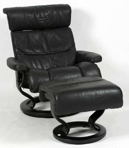 Black Leather Stressless Chair & Ottoman (560.00)