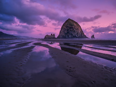 Haystack twilight (Jim Nix / Nomadic Pursuits) Tags: aurorahdrpro cannonbeach hdr haystackrock jimnix lightroom macphun nomadicpursuits olympus olympusomdem1 oregon pacificnorthwest pacificocean beach bluehour mirrorless seascape seastacks sunset travel twilight