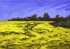 Rapeseed Bilham - Original Landscape Painting by Steve Greaves (Steve Greaves) Tags: art artwork painting modern contemporary rapeseed field village farm farmland trees path footpath yorkshire summer flowers countryside bluesky vincentvangogh kyffin kyffinwilliams yellow green impasto paletteknife