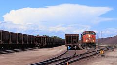 Dumper Power (GLC 392) Tags: cn canadian national emd sd402w escanaba ore dock dump dumper power iron stock pile wells mi michigan jennies cars storm clouds 5321 railroad railway train
