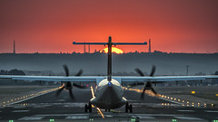 _DSC6530 (jsanchezq65) Tags: sunset airplane airport airportnight airportscape spotting spotters spotter transporters aviation aviacin tapportugal atr72600 atr
