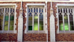3 Windows (Lydia_Brave) Tags: church cathedral art stained glass stainedglass color symmetry focus brick window