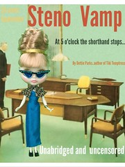 """Champagne Allegra goes vamp. Liz's Retros ensemble which includes glasses, cigarette and ashtray! She's great. Her fashions are impeccably sewn and fitted.  Obvious hair extension intentional (called a """"fall"""" back in the day when enormous hair was in)."""